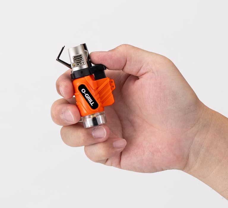 GJ-100 Portable Micro Jet Butane Torch in the hand