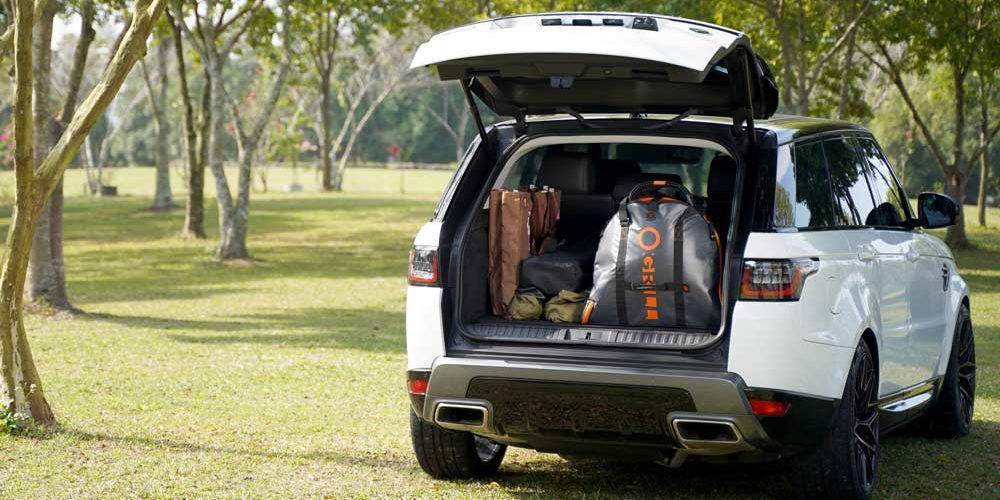 O-Grill Portable Butane Grills Packed inside O-Grill Accessories O-Shield that storage in the rear compartment