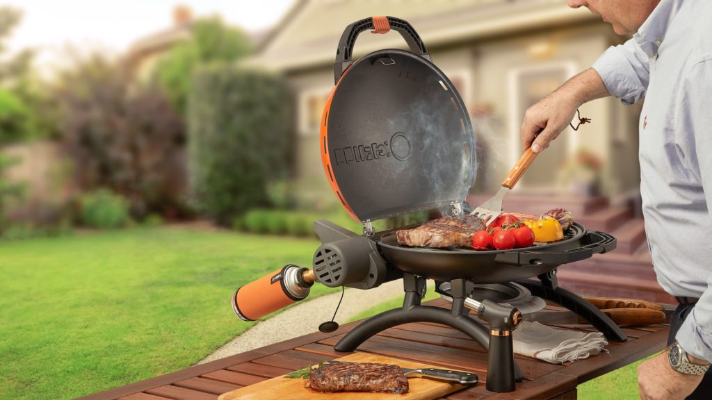 BBQing the O-Grill Portable Butane Grills Outdoor also using Kitchen Torch